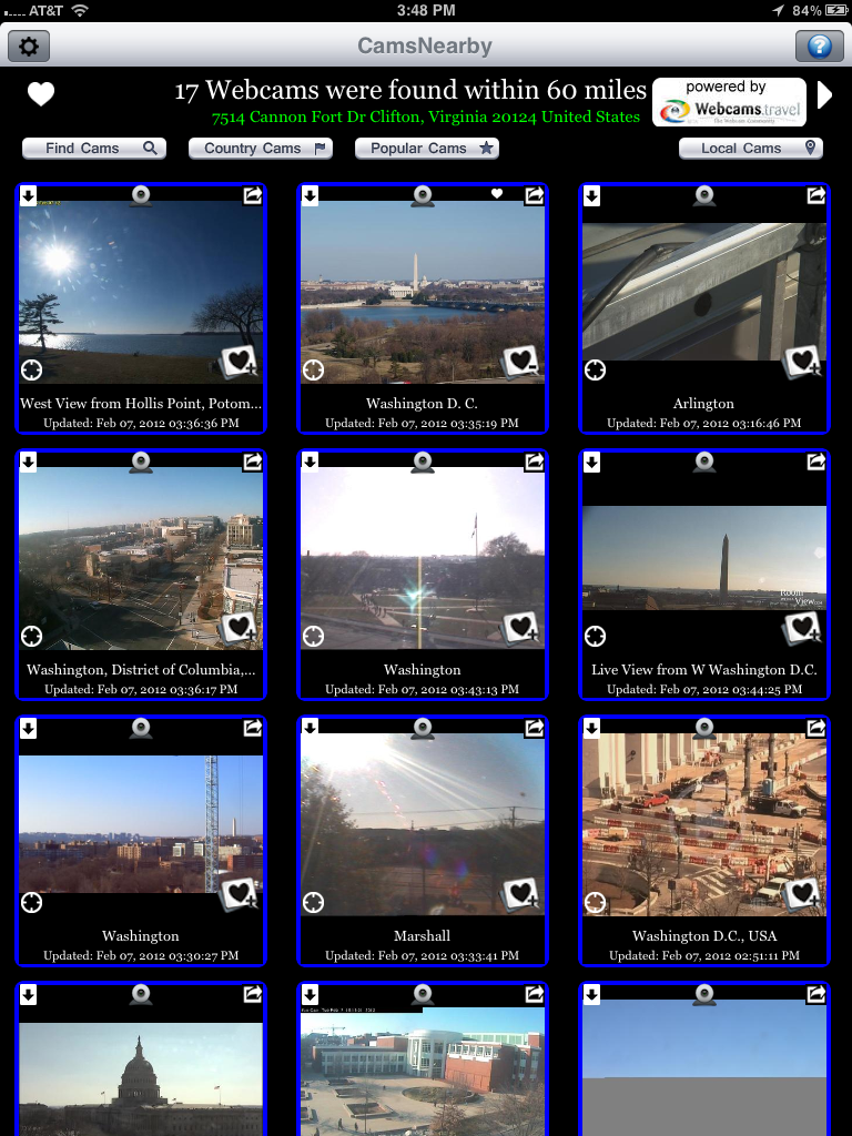 CamsNearby Webcams Utility (iOS mobile app)
